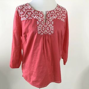 Talbots Womens Top Pink Embroidered